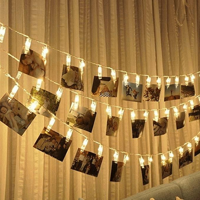Souvenirs souvenirs guirlande lumineuse avec pinces - Guirlande porte photo avec pinces linge ...